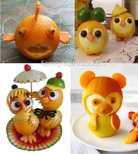 Поделки из оранжевых овощей и фруктов