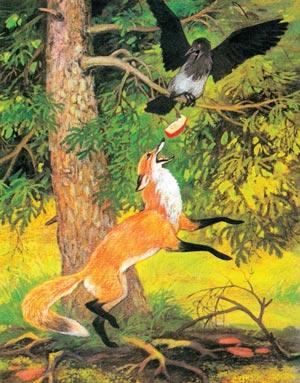 лисица и ворона картинка