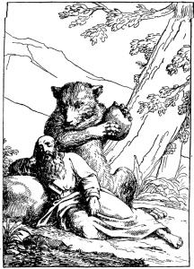 Басня Пустынник и медведь