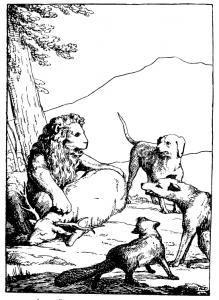 Басня Лев на ловле