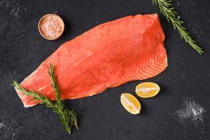 top view of raw frozen salmon fillet 300x200 - Постная рыбная кулебяка