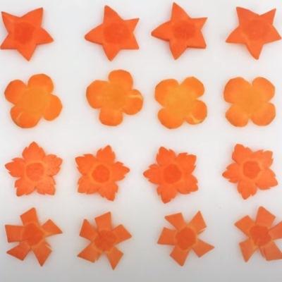 Декоративные цветы из моркови для салатов и консервации
