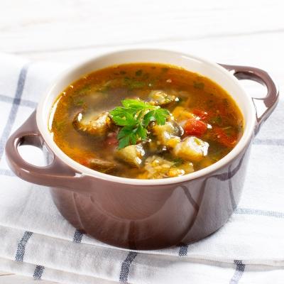 Овощной суп с баклажанами и чечевицей