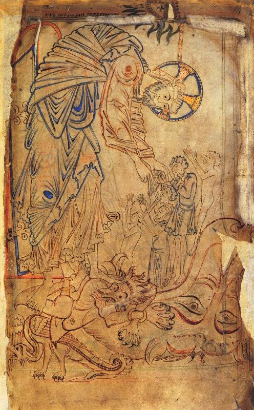 Tiberius Cotton Psalter - Иконография Пасхи: «Descensus ad inferos» и «Ανάστασις»